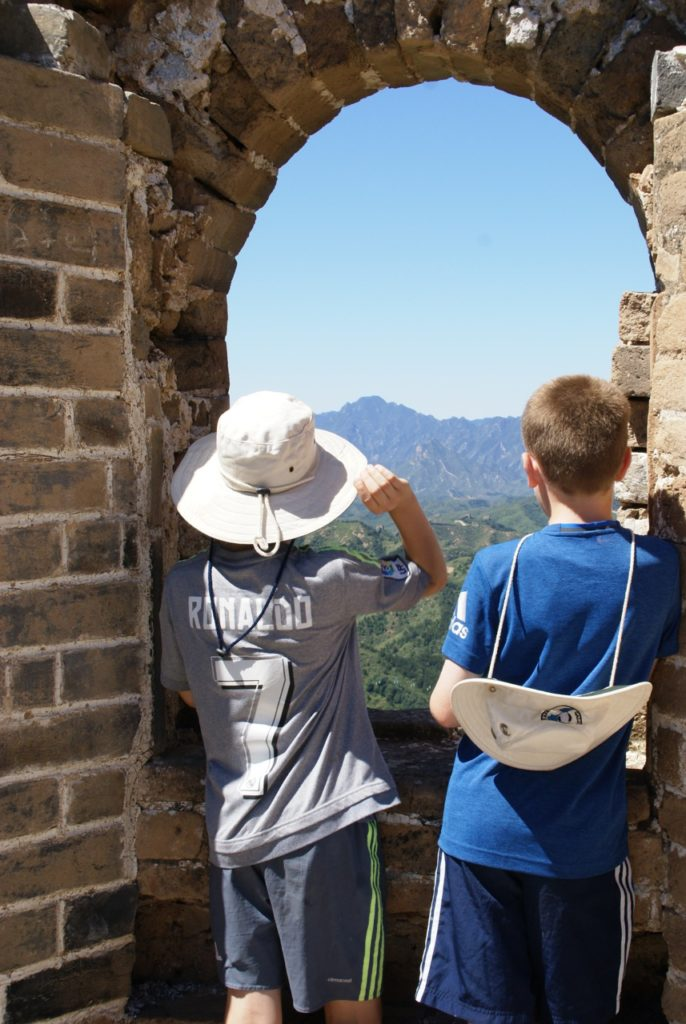 Looking out from the Great Wall of China