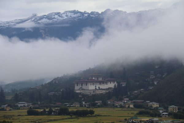 Paro Dzong Bhutan in the mist