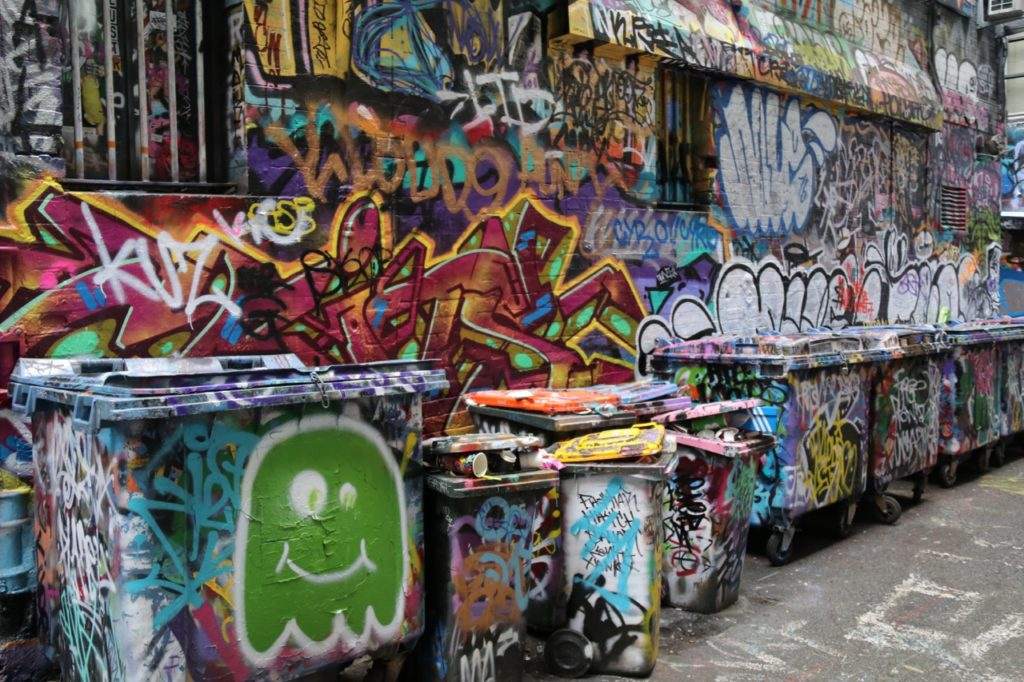 Street art in Melbourne along Hosier Lane