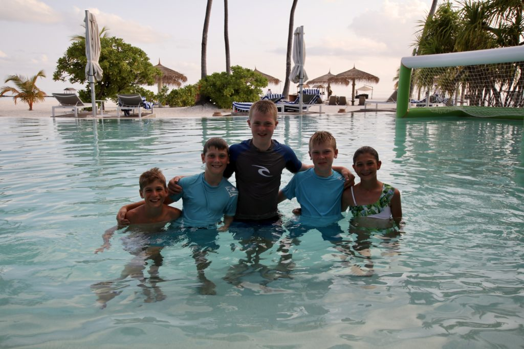 Family fun at the pool Constance Haleveli in the Maldives