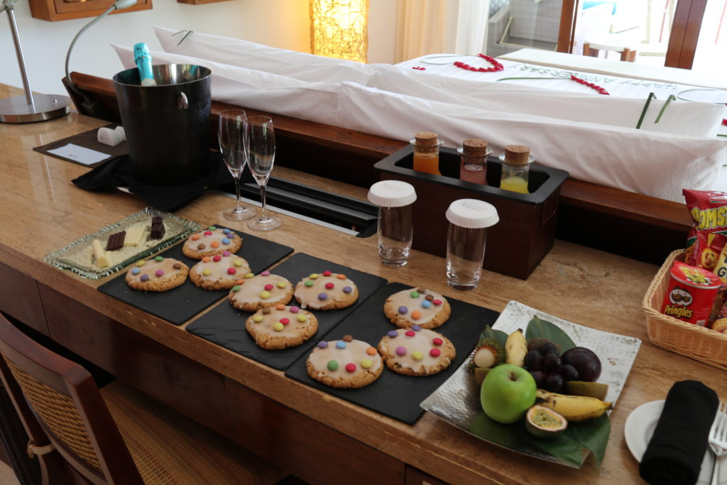 Welcome gifts at Constance Haleveli in the Maldives