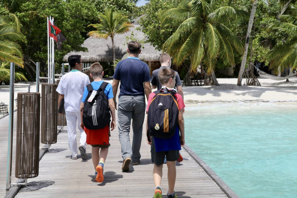 Arriving at family friendly Constance Haleveli in the Maldives