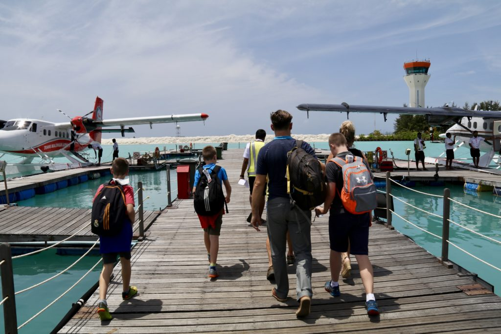 Catching the seaplane to Constance Haleveli in the Maldives
