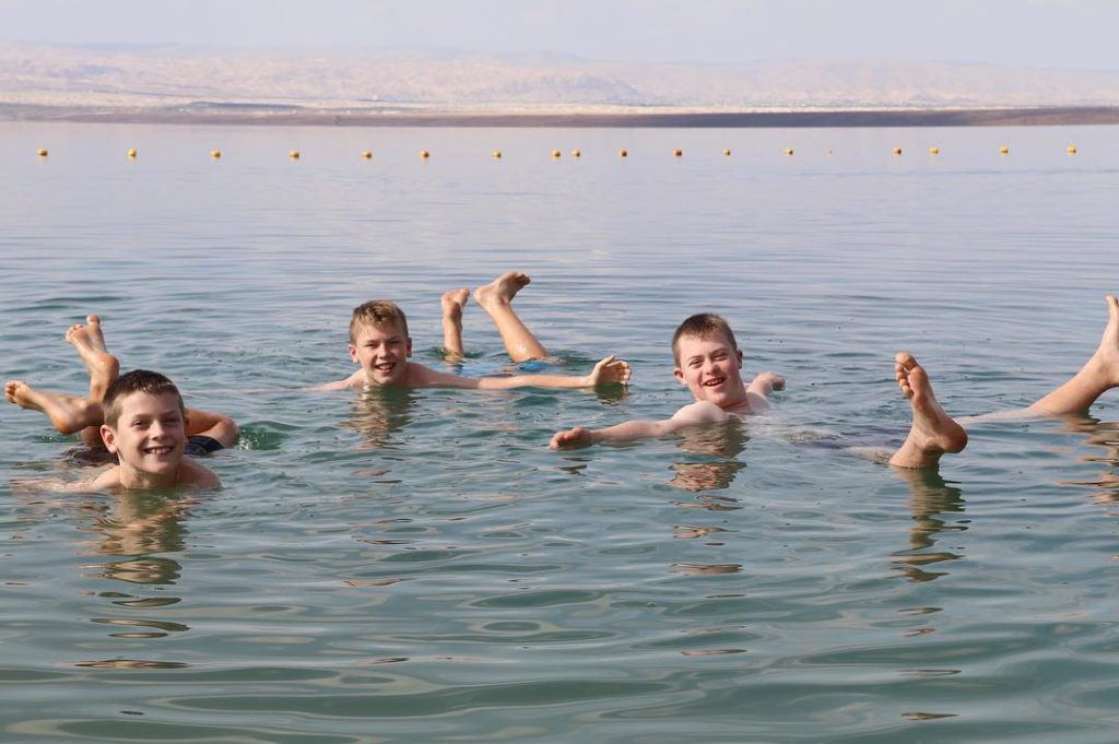 Floating in the Dead Sea with kids
