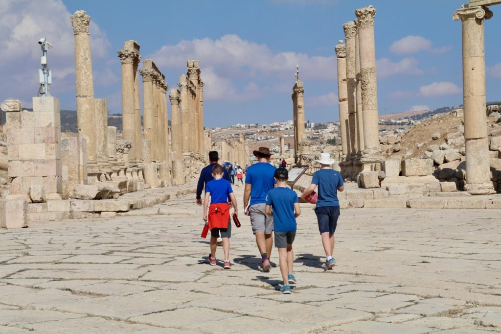 Walking the Cardo Maximus in Jerash with kids