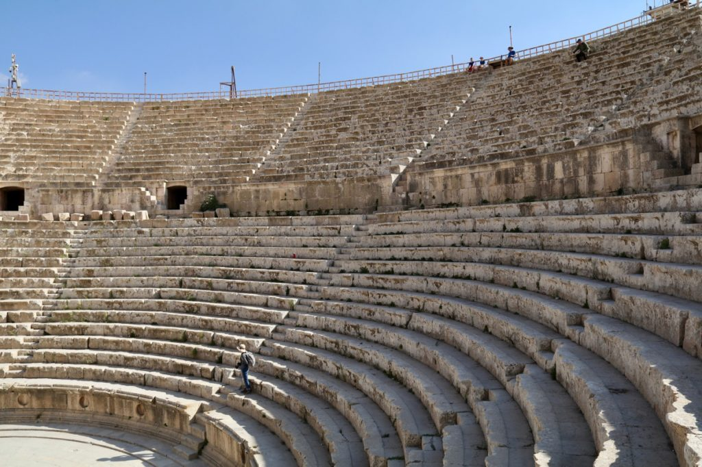 The seating in the South Theatre in Jerash