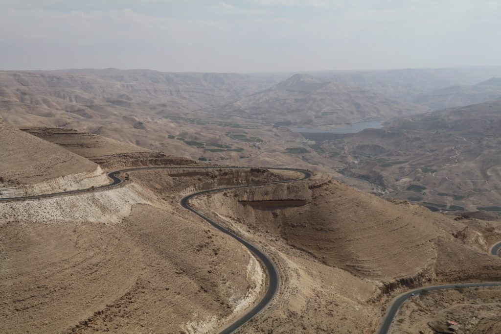 The switchbacks on the road up and down Wadi Mujib, the Grand Canyon of Jordan