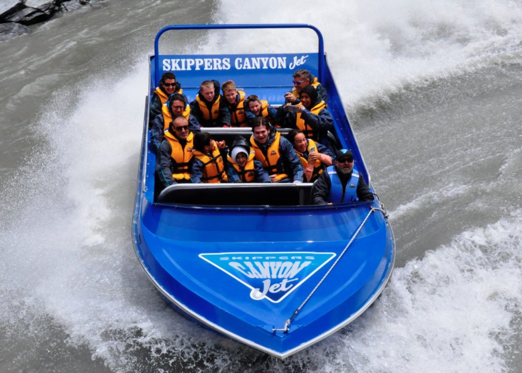Jet boating down Skippers Canyon New Zealand