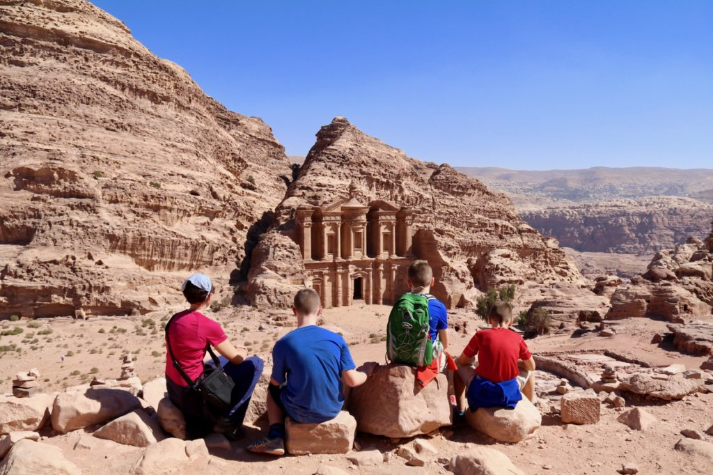 Overlooking the Monastery at Petra with kids