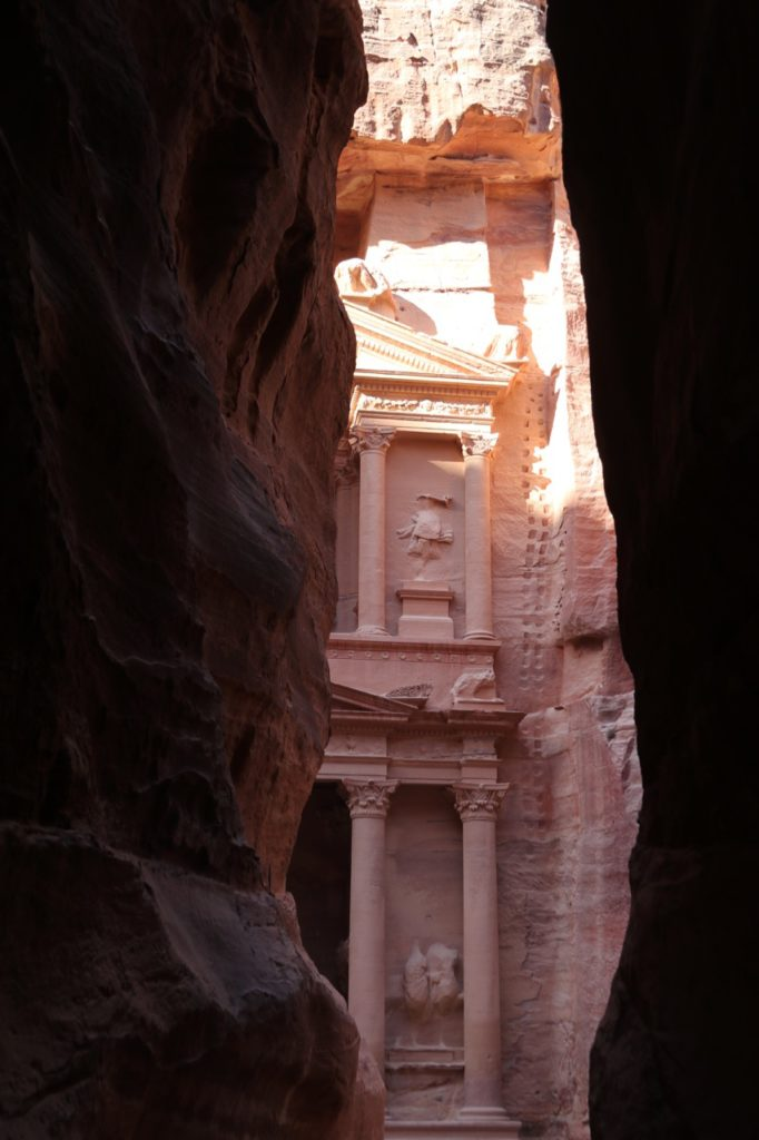 The first glimpse of the Treasury in Petra