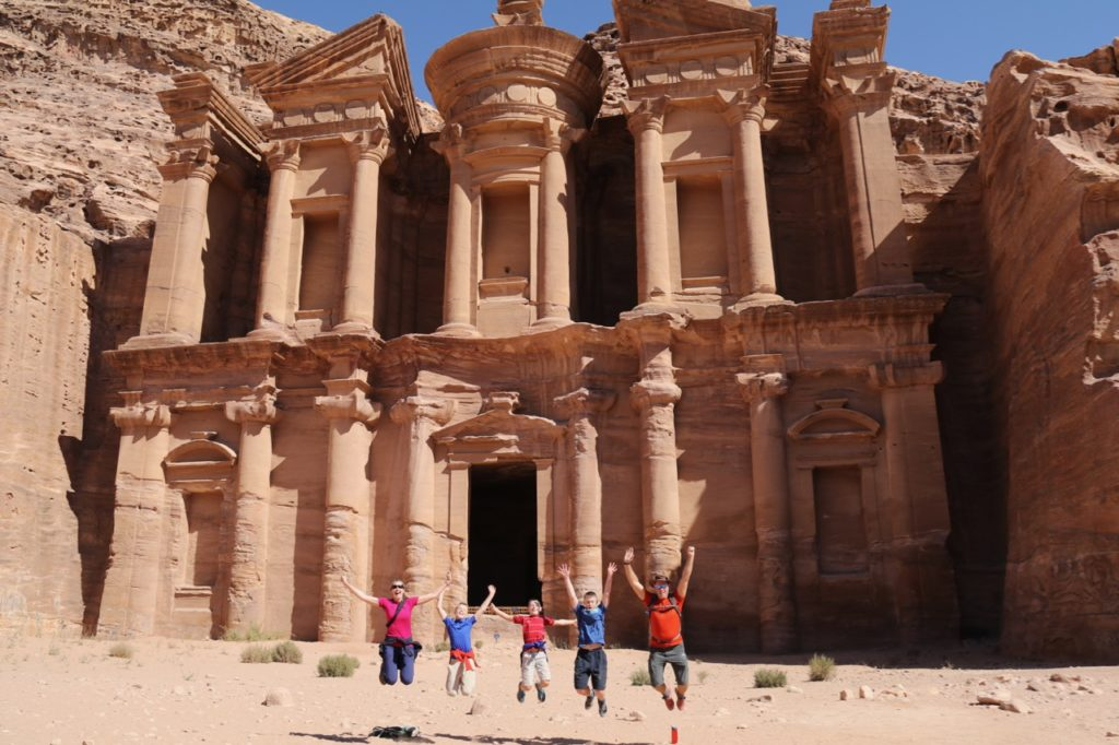 The Monastery at Petra, visiting with kids
