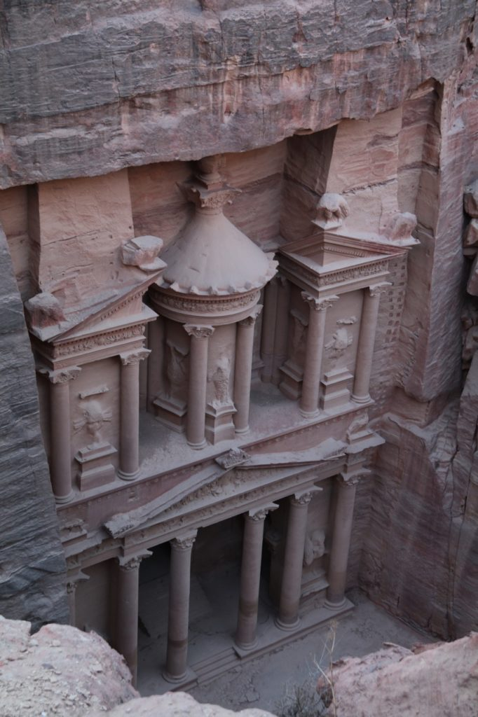 Looking down at the Treasury from above at Petra